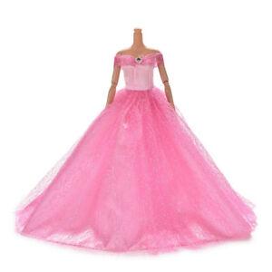 Barbie Steffi Puppe Brautkleid Prinzessin Kleid Kleidung Hochzeitskleid rosa y3