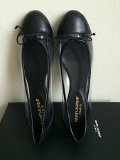 NIB $445 Saint Laurent Dance Metallic Leather Ballet Flats Black size 7.5