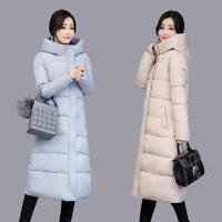 Winter Women's Down Jackets Cotton-Padded Long Hooded Coats Warm Parka Outerwear