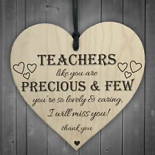 Teachers Are Precious Wooden Hanging Heart Shabby Chic Thank You Plaque Sign NEW