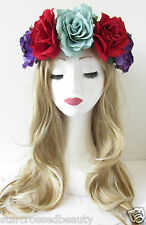 Large Purple Red Rose Flower Hair Crown Headband Festival Garland Vtg Big R92