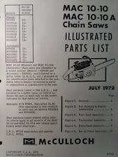 Mcculloch Chain Saw Mac 10 10 Amp 10 10a Parts Manual 2 Cycle Gas Chainsaw 1972