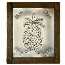 Pineapple Tin Punch Picture Wood Frame Handmade Primitive Farmhouse Folk Art