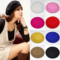 Wool Warm Beret Women Felt French Beanie Newsboy Berets Slouch Hat Cap Tam Solid