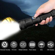 Alta Potencia 900000 lúmenes LED Recargable Antorcha Linterna Zoom XHP50 Faro UK