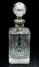 VINTAGE CUT GLASS DECANTER WITH SIVER PLATED COLLAR BY FRANCIS HOWARD
