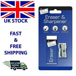 Quality Eraser Rubber & Metal Sharpener Blister Pack School Office Stationery