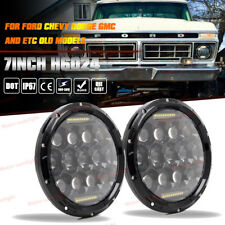 "7"" Projector Black Lens Headlights Round w/ H4 Light Bulbs Led Headlight Lamps"