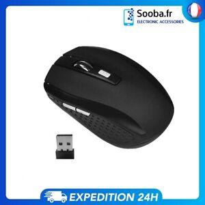 Souris Optique Sans Fil 2.4G pour Mac et Windows avec Récepteur USB - Black
