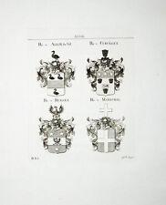1816 von Allix du Val Cueullet Henart Marechal 4 Kupferstich-Wappen Tyroff