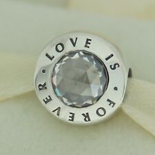 Authentic Pandora USB795000 Love Is Forever Silver Bead Charm W Heart Gift Box