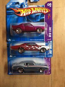 Hot Wheels Pontiac 3 Pack. Firebird, GTO X2