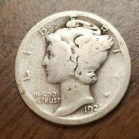 1921 D Silver Mercury Dime Key Date Coin