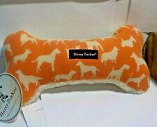 """New Harry Barker Canvas Bone Dog Toy Large 11"""" Squeaky Orange Dog Design Stuffed"""