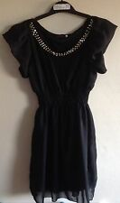 Ladies Black Dress/Long Top with Bead Detail from You size S/M 6,8,10,12,14