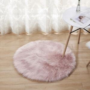 Puffy Rugs Round Carpet Faux Fur Sheepskin Non Slip Floor Room Pad Seat Cushion