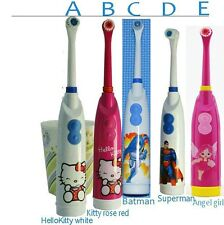Cute Kids Toddler Ultrasonic Electric Toothbrush Baby Hello Kitty Superman