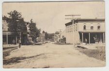 Real Photo Postcard Parish, New York Railroad Street Buildings & Men on Porches