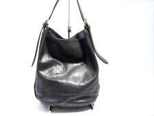 Auth IL BISONTE Black Leather Shoulder Bag