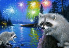 Raccoons lake cabin moon July 4th fireworks landscape OE ACEO print art