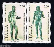 ITALIA 2 FRANCOBOLLI BRONZI DI RIACE STATUE 1981 nuovo**