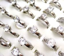36pcs Big Zircon Ring Women's Crystal Stainless Steel CZ Rings Wedding Jewelry
