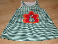 Size 2-3T Homemade Green White Checked Thanksgiving Holiday Turkey Dress EUC