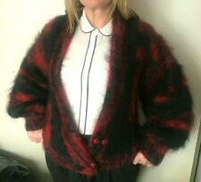 Handmade Vintage Knitted Mohair Cardigan hairy Sweater Top Jacket Hand Knit (#1)