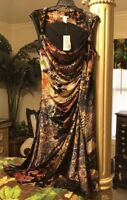 Alberto Makali Sz 10 Ruched Fit And Flare Floral Animal Print Velvety Dress