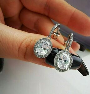 Womens Ladies Girls Cz Crystal Oval Drop Stud Earrings Gift One Love UK