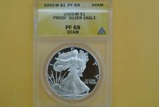 2003-W (Proof) Silver American Eagle PF-69 DCAM ANACS Discounted for Spots