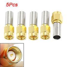 5X SMA Male Plug RF Coaxial Connector Crimp For RG58 RG142 RG400 LMR195 RG223 LW