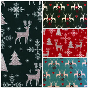 Christmas Fabric Per Metre Stags Xmas Red Green Silve Craft Festive Advent Noel