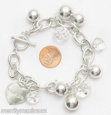 Chico's Signed Toggle Bracelet Silver Tone Oval Link Chain Heart Charm NWOT