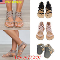 USA Womens Ladies Flat Gladiator Sandals Strappy Back Zipper Beach Casual Shoes