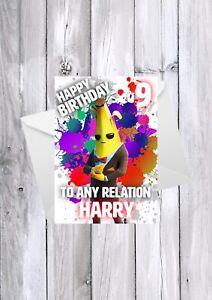 FORTNITE personalised kids birthday card