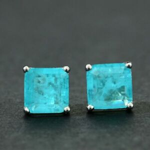 Paraiba Tourmaline Octagon Engagement Earrings 925 Sterling Silver Wedding Bands