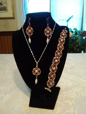 OOAK Handmade Beadwoven Ivory, Purple & Gold Necklace, Bracelet & Earrings Set