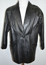 Cayenne Black Leather Car Coat Jacket Women's size M
