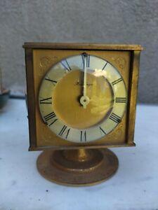 Pendule de bureau Hour Lavigne 5 Facesb laiton Plaqué Or années 50
