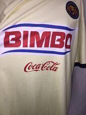 "Club America COCA~COLA Bimbo Corona Soccer Shirt 51"" Chest EUC Pale Yellow"