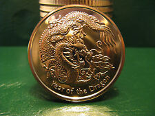 Year Of The Dragon 1 oz copper rounds  .999 bullion MINT fresh .