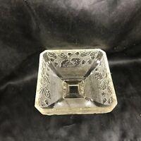 Vintage Clear Glass Hobnail Oak Leaf Acorn Footed Bowl