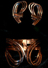 Renoir copper clamper bracelet & clip on earrings Rythm 50's