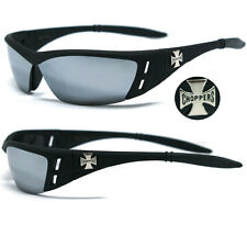 Choppers Motorcycle Riding Glasses Sunglasses - Matte Black / Mirror Lens C46