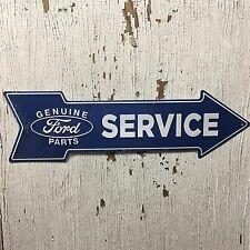 "Ford Service Genuine Parts 6"" x 20"" Embossed Metal Blue Arrow Sign Garage"