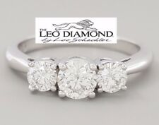 0.97 ct The Leo 14K & Platinum Three Stone Round Cut Diamond Engagement Ring