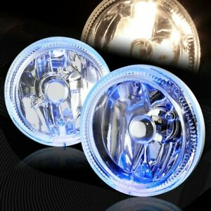 "4"" Round Blue Halo Chrome Housing Clear Lens Fog Driving Lights Lamps Universal"