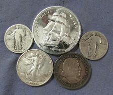 LOT 4 US SILVER COINS & 1 OZ .999 SAILSHIP ROUND 1893 COLUMBIAN EXPO HALF $ ETC