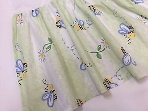 POTTERY BARN Busy Bee and Daisy Floral Full Double Dust Ruffle Bed Skirt (RF524)